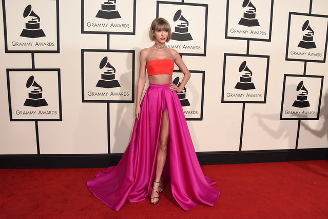 In this February 15, 2016, file photo, Taylor Swift arrives at the 58th annual Grammy Awards at the Staples Center in Los Angeles. Swift's recent spat with Kanye West, coming days after Calvin Harris lashed out at his ex-girlfriend on Twitter, has people taking sides and throwing shade at music industry's Grammy-winning good girl. (Photo by Jordan Strauss/Invision/AP Photo)