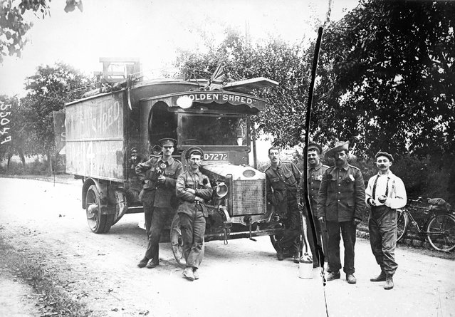 """British army transport at La Ferte-Sous-Jouarre, using a commandeered """"Robinson's Golden Shred'"""" delivery van, 1914."""