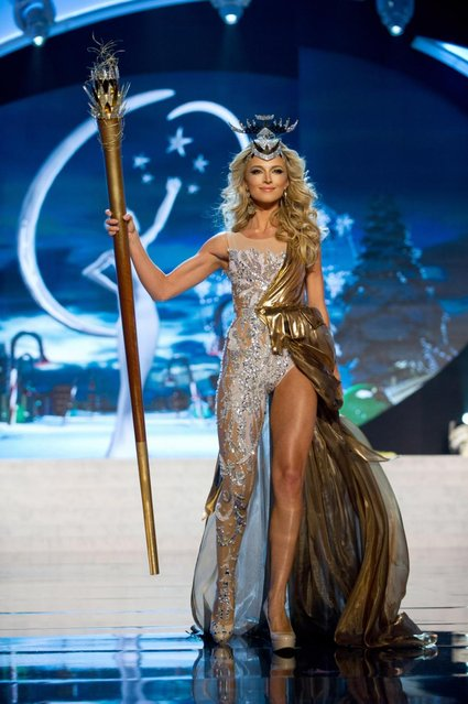 Miss South Africa 2012, Melinda Bam, performs onstage at the 2012 Miss Universe National Costume Show on Friday, December 14, 2012 at PH Live in Las Vegas, Nevada. The 89 Miss Universe Contestants will compete for the Diamond Nexus Crown on December 19, 2012. (Photo by AP Photo/Miss Universe Organization L.P., LLLP)
