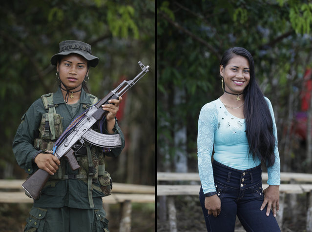 This August 15, 2016 photo shows two portraits Carolina, one of her holding a weapon while in her uniform for the Revolutionary Armed Forces of Colombia (FARC) 49th front, and in civilian clothing at a guerrilla camp in the southern jungle of Putumayo, Colombia. Carolina, 18, said she has spent three years in the FARC and would like to study engineering  after demobilizing as part of a peace deal with Colombia's government. (Photo by Fernando Vergara/AP Photo)