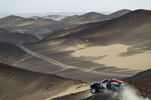 Nani Roma of Spain and X-Raid drives with co-driver Alex Haro Bravo of Spain in the Mini John Cooper Works Rally car in the Classe : T1.2 : 4x4 Diesel during stage two of the 2018 Dakar Rally, a loop stage to and from Pisco on January 7, 2018 in Peru. (Photo by Dan Istitene/Getty Images)