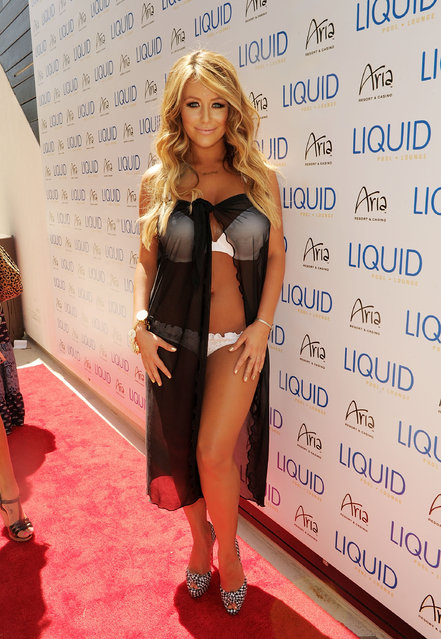American singer-songwriter and reality television personality Aubrey O'Day arrives at Liquid Pool Lounge on May 21, 2011 in Las Vegas, Nevada. (Photo by Denise Truscello/WireImage)