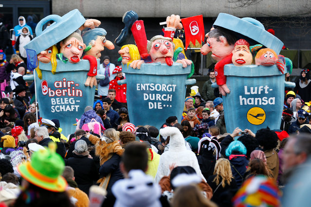 """A carnival float at the traditional """"Rosenmontag"""" Rose Monday carnival parade in Duesseldorf, Germany on February 12, 2018. (Photo by Thilo Schmuelgen/Reuters)"""