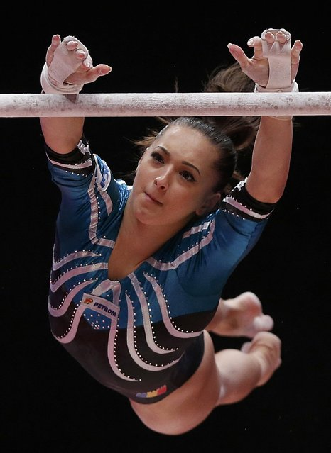 Larisa Andreea Iordache of Romania competes on the uneven bars during the women's all-round final at the World Gymnastics Championships at the Hydro Arena in Glasgow, Scotland, October 29, 2015. (Photo by Phil Noble/Reuters)