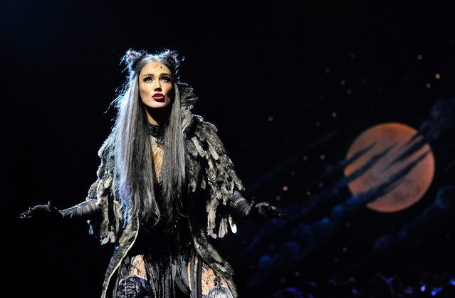 Cast member, Australian singer Delta Goodrem performs a scene during a media call for the musical Cats at the Capitol Theatre in Sydney, Australia, 30 October 2015. Goodrem will play the character Grizabella in Andrew Lloyd Webber's international hit show as it tours Australia over coming months. (Photo by Joel Carrett/EPA)