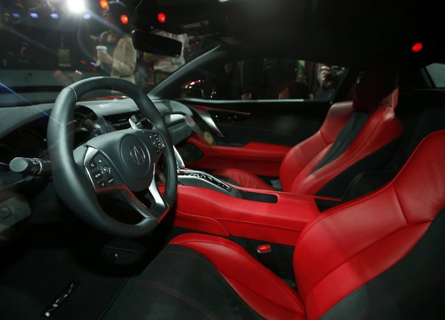 View of the interior of the 2015 Acura NSX as it is displayed during the first press preview day of the North American International Auto Show in Detroit, Michigan, January 12, 2015. (Photo by Mark Blinch/Reuters)