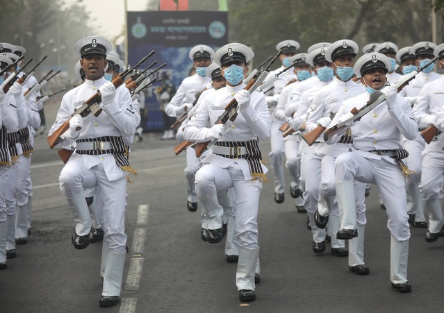 Indian Navy personnel take part in the Republic Day celebration parade in Kolkata, India, 26 January 2021. (Photo by Piyal Adhikary/EPA/EFE)