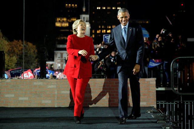 U.S. Democratic presidential nominee Hillary Clinton is joined by U.S. President Barack Obama at a campaign rally on Independence Mall in Philadelphia, Pennsylvania, U.S. November 7, 2016, the final day of campaigning before the election. (Photo by Brian Snyder/Reuters)