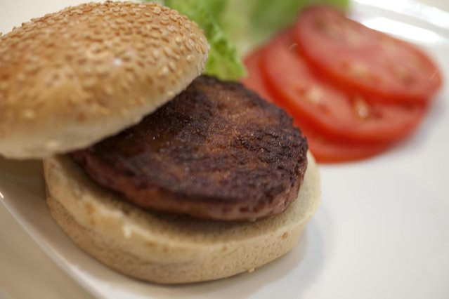 In this handout image provided by Ogilvy, a burger made from cultured beef, which has been developed by Professor Mark Post of Maastricht University in the Netherlands, is displayed at the world's first public tasting of the product on August 5, 2013 in London, England. Cultured Beef could help solve the coming food crisis and combat climate change with commercial production of Cultured Beef beginning within ten to twenty years. (Photo by David Parry via Getty Images)