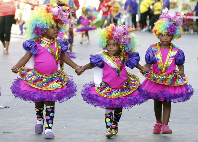 Revellers from the band On Stage parade on stage at the annual Trinidad and Tobago Red Cross Society's Children's Carnival Competition at the Queen's Park Savannah in Port-Of-Spain February 7, 2015. (Photo by Andrea De Silva/Reuters)
