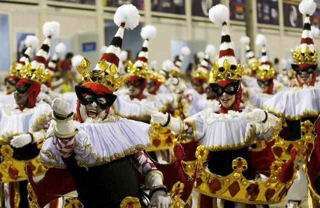 Revellers from the Grande Rio samba school participate in the annual carnival parade in Rio de Janeiro's Sambadrome, February 16, 2015. (Photo by Sergio Moraes/Reuters)