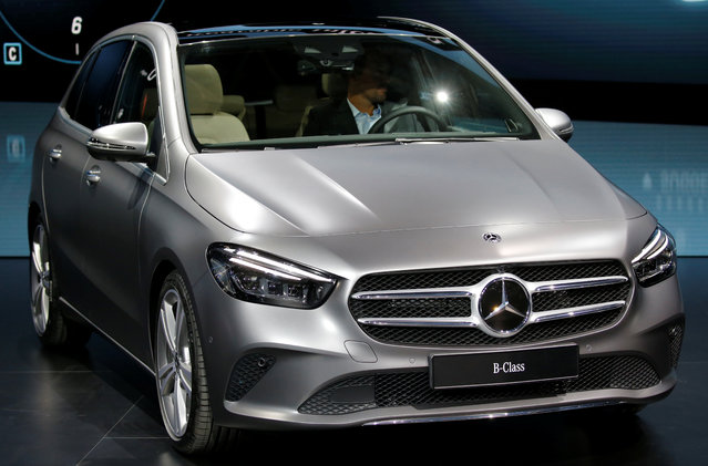 The new Mercedes B-Class is on display at the Auto show in Paris, France, Tuesday, October 2, 2018, 2018. (Photo by Regis Duvignau/Reuters)