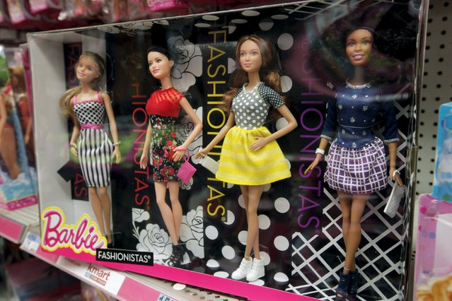 Barbie dolls are seen on display at a retail store in the Manhattan borough of New York City, January 28, 2016. (Photo by Mike Segar/Reuters)