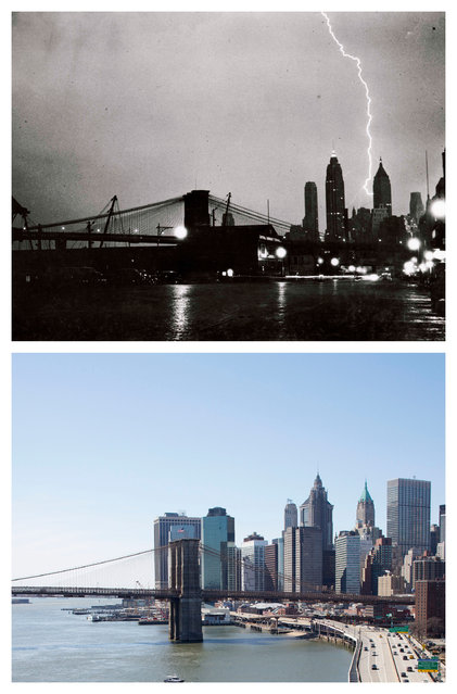 "This combination of the July 27, 1940 photo ""Striking Beauty"" by Weegee, provided by the International Center of Photography, and the same vantage point on Sunday, March 22, 2015 shows the lower Manhattan skyline near the Brooklyn Bridge. (Photo by AP Photo/Copyright Weegee/The International Center of Photography, Mark Lennihan)"