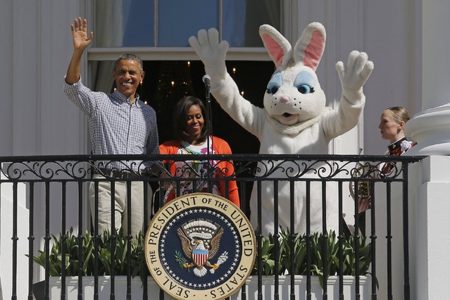 U.S. President Barack Obama, first lady Michelle Obama and the Easter Bunny kick off the annual Easter Egg Roll at the White House in Washington April 6, 2015. (Photo by Jonathan Ernst/Reuters)