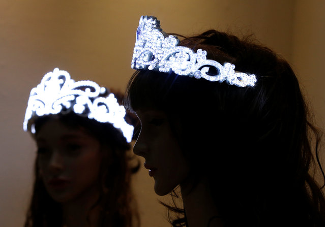 Tohkoo corp's battery-operated tiara embellished with 610 LED-lit zirconium is displayed at the International Jewellery Tokyo trade show in Tokyo, Japan January 24, 2017. (Photo by Toru Hanai/Reuters)