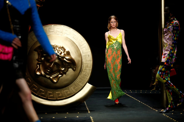 A model presents a creation by Versace during the Milan Fashion Week in Milan, Italy February 22, 2019. (Photo by Alessandro Garofalo/Reuters)
