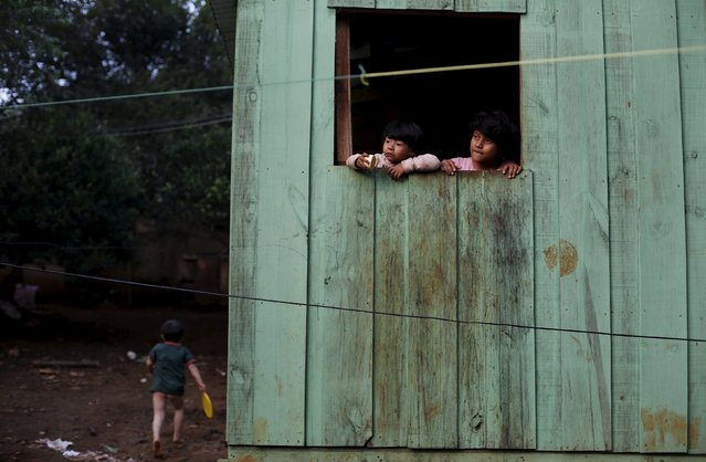 Guarani Indian children look from a window of their house in the village of Pyau at Jaragua district, in Sao Paulo April 28, 2015. (Photo by Nacho Doce/Reuters)