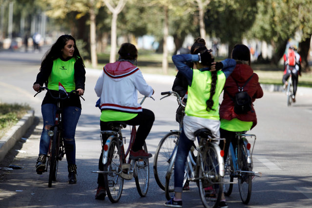 Participants take part in a cycling event aimed at promoting healthier lifestyles in Baghdad, Iraq, February 4, 2017. (Photo by Khalid al Mousily/Reuters)