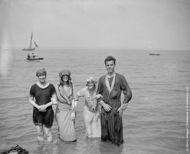 Bashful bathers take to the waters at Southend-on-Sea, 1919