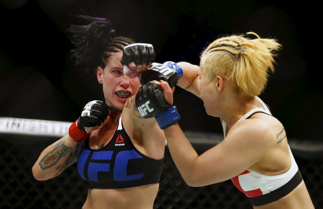 Mixed Martial Arts, Ultimate Fighting Championship (UFC) Fight Night, Lightweight Bout, Brisbane Entertainment Centre, Brisbane, Australia on March 20, 2016: Seohee Ham in action with Bec Rawlings. (Photo by Jason O'Brien/Reuters)