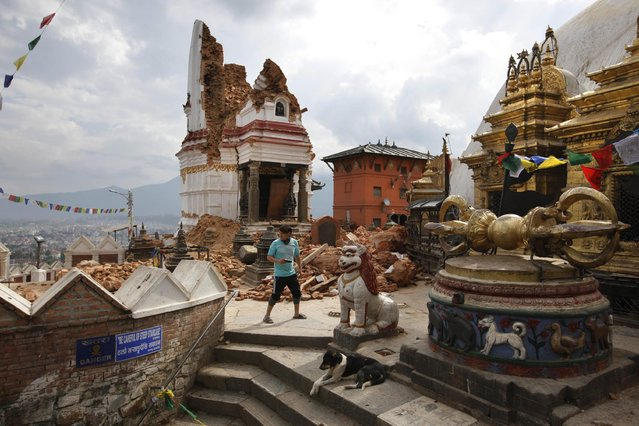 In this Thursday, April 30, 2015 photo, a man walks through the famous Swayambhunath stupa after it was damaged in the April 25 massive earthquake in Kathmandu, Nepal. (Photo by Niranjan Shrestha/AP Photo)