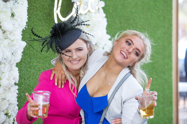 """Fashion on """"Ladies Day"""" at Chester Racecourse on May 10, 2019 in Chester, England. (Photo by Mercury Press)"""