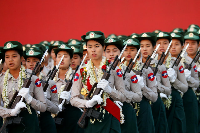 Myanmar's military parade to mark the 72nd Armed Forces Day in the capital Naypyitaw, Myanmar March 27, 2017. (Photo by Soe Zeya Tun/Reuters)