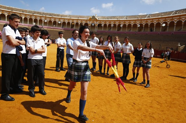 A student holds a pair of banderillas during a bullfight master class for schoolchildren at the Maestranza bullring in the Andalusian capital of Seville, southern Spain, April 23, 2014. (Photo by Marcelo del Pozo/Reuters)