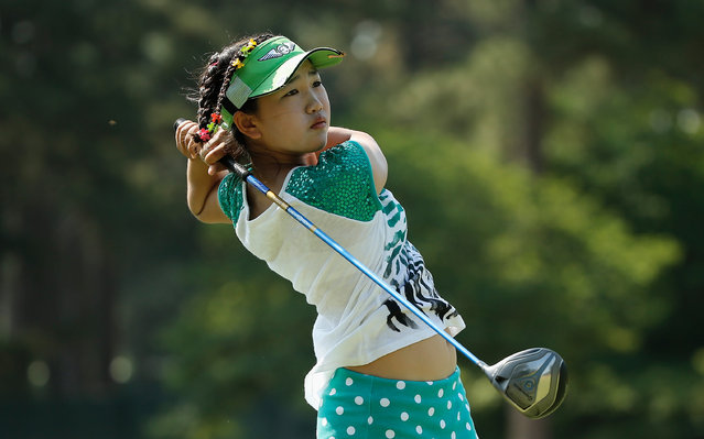 Eleven-year old Amateur Lucy Li of the United States hits a shot during a practice round prior to the start of the 69th U.S. Women's Open at Pinehurst Resort & Country Club, Course No. 2 on June 17, 2014 in Pinehurst, North Carolina. (Photo by Scott Halleran/Getty Images)