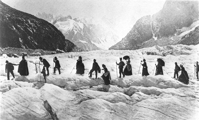 Victorian travellers trekking on the Chamonix Glacier in the Savoy Alps, 1867