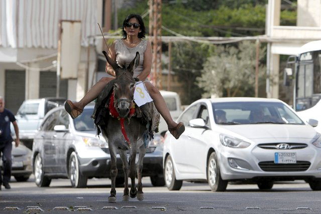 A woman rides a donkey during a donkey race in Roum village, Jizeen countryside, southern Lebanon, August 9, 2015. (Photo by Ali Hashisho/Reuters)