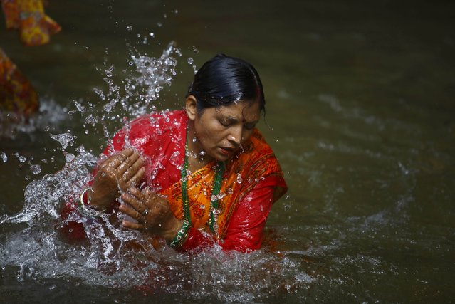 "A Hindu devotee takes a dip at the Bagmati River as she participates in the ""Bol Bom"" (Say Shiva) pilgrimage in Kathmandu July 21, 2014. The faithful, chanting the name of Lord Shiva, run about 15 km (9 miles) barefooted toward Pashupatinath temple seeking good health, wealth and happiness. (Photo by Navesh Chitrakar/Reuters)"
