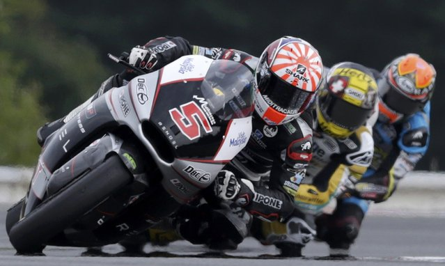 Kalex Moto2 Johann Zarco (L) of France leads a pack of riders during the Czech Grand Prix in Brno, Czech Republic, August 16, 2015. (Photo by David W. Cerny/Reuters)