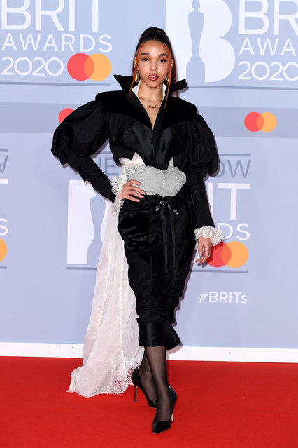 FKA Twigs attends The BRIT Awards 2020 at The O2 Arena on February 18, 2020 in London, England. (Photo by Gareth Cattermole/Getty Images)