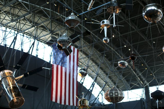 Satellites and space probes hang on display at the Udvar-Hazy Smithsonian National Air and Space Annex Museum in Chantilly, Virginia August 28, 2015. (Photo by Gary Cameron/Reuters)