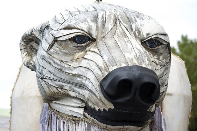 A general view of the giant polar bear puppet outside the Shell Building on September 2, 2015 in London, England. (Photo by Ben Pruchnie/Getty Images)