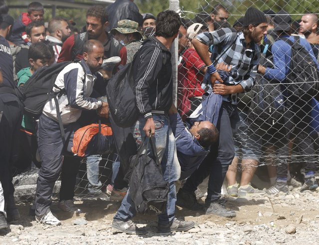 Migrants rescue a man who collapsed as migrants pushed to board a train near Gevgelija, Macedonia, September 7, 2015. (Photo by Stoyan Nenov/Reuters)