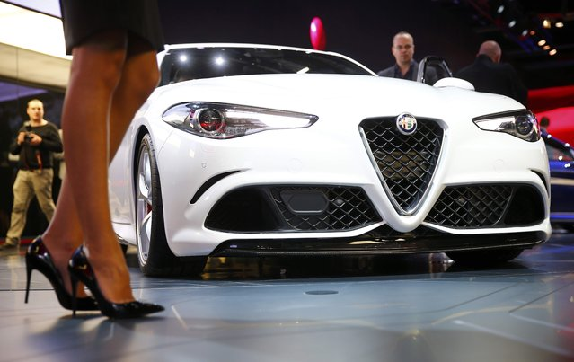 An Alfa Romeo Giulia car is pictured during the media day at the Frankfurt Motor Show (IAA) in Frankfurt, Germany, September 15, 2015. (Photo by Kai Pfaffenbach/Reuters)