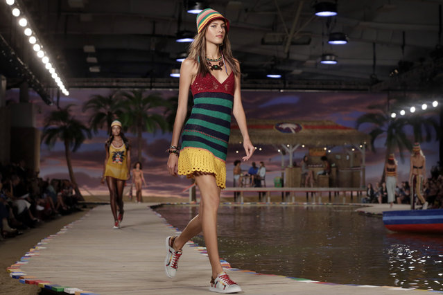 The Tommy Hilfiger Spring 2016 collection is modeled during Fashion Week in New York, Monday, September 14, 2015. (Photo by Richard Drew/AP Photo)