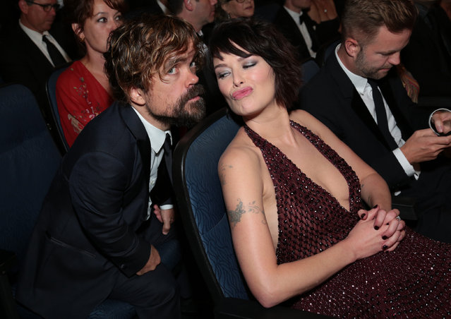 Peter Dinklage, left, and Lena Headey attend the 67th Primetime Emmy Awards on Sunday, September 20, 2015, at the Microsoft Theater in Los Angeles. (Photo by Alex Berliner/Invision for the Television Academy/AP Images)