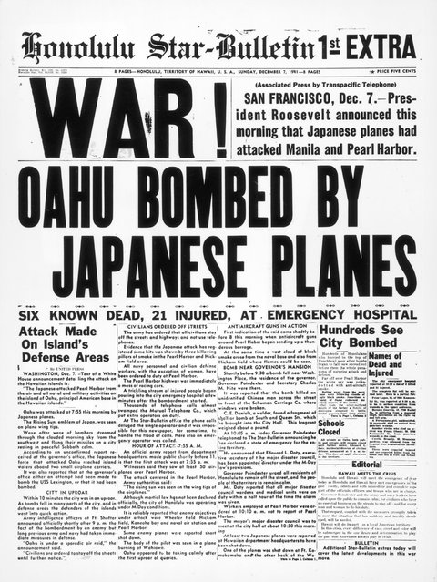 7th December 1941:  The newspaper tells of bombing in downtown Honolulu an hour and a half after the attack on Pearl Harbour (Pearl Harbor) by the Japanese airforce.  (Photo by Three Lions/Getty Images)