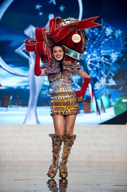 Miss Venezuela 2012, Irene Sofía Esser Quintero, performs onstage at the 2012 Miss Universe National Costume Show on Friday, December 14, 2012 at PH Live in Las Vegas, Nevada. The 89 Miss Universe Contestants will compete for the Diamond Nexus Crown on December 19, 2012. (Photo by AP Photo/Miss Universe Organization L.P., LLLP)