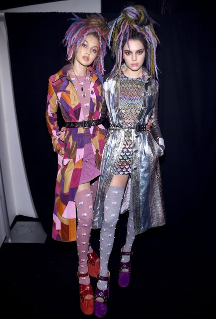 Gigi Hadid and Kendall Jenner pose backstage at the Marc Jacobs Spring 2017 fashion show during New York Fashion Week at the Hammerstein Ballroom on September 15, 2016 in New York City. (Photo by Dimitrios Kambouris/Getty Images for Marc Jacobs)