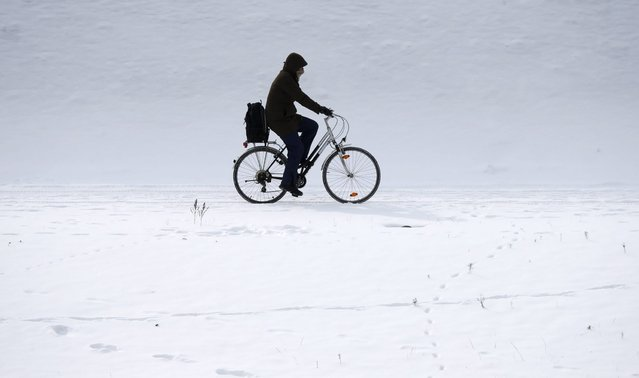 A man rides his bicycle through the snow along the embankment of the river Spree near the governmental district in Berlin, March 12, 2013. (Photo by Fabrizio Bensch/Reuters)
