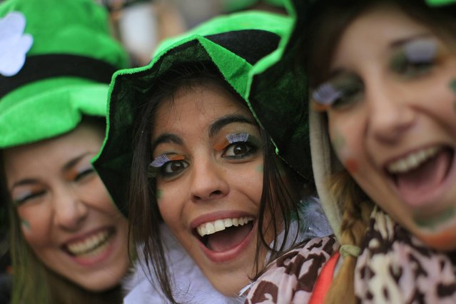 Revellers during the St Patrick's day parade through Dublin city centre on St Patrick's day, on March 17, 2013. (Photo by Julien Behal/PA Wire)