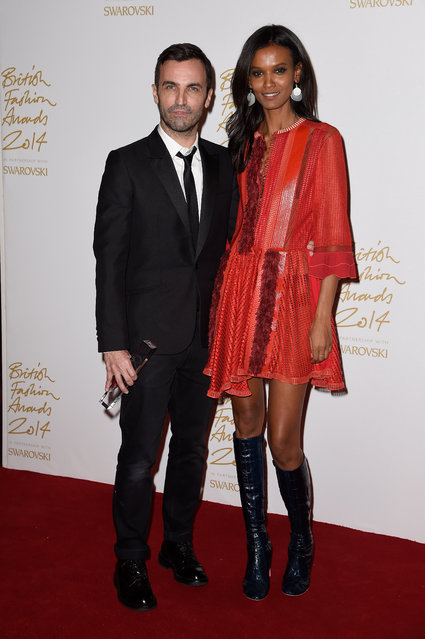 International Designer winner Nicolas Ghesquiere and Liya Kebede pose in the winners room at the British Fashion Awards at London Coliseum on December 1, 2014 in London, England. (Photo by Pascal Le Segretain/Getty Images)