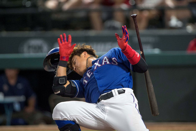 Texas Rangers designated hitter Shin-Soo Choo (17) avoids an close pitch during the ninth inning against the Kansas City Royals at Globe Life Park in Arlington, TX, USA on May 24, 2018. (Photo by Jerome Miron/USA TODAY Sports)