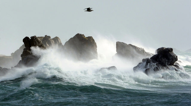 A picture taken on March 9, 2016 shows waves crashing onto the shore in the port of Porspoder, western France. (Photo by Fred Tanneau/AFP Photo)
