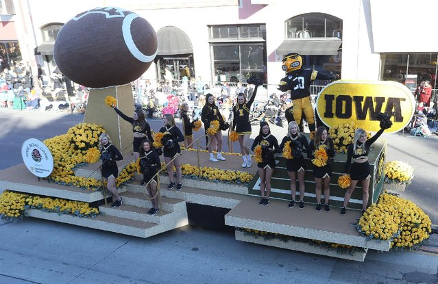The University of Iowa float on the parade route during the 127th Tournament of Roses Parade Presented by Honda on January 1, 2016 in Pasadena, California. (Photo by Frederick M. Brown/Getty Images)